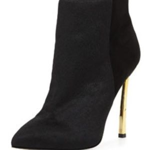 Sandy Calf Hair Combo Black/Gold Booties